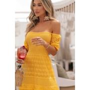 Vestido Ciganinha Crisviane Vera Tricot - Amarelo
