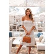 Vestido Ciganinha Crisviane Vera Tricot - Off White