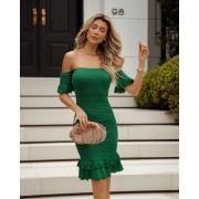 Vestido Ciganinha Lastex Dinorá Vera Tricot - Verde