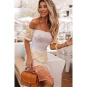 Vestido Ciganinha Pâmela Vera Tricot - Laranja / Cru / Amarelo / Branco