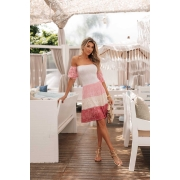 Vestido Ciganinha Pâmela Vera Tricot - Pink / Cru / Rosa / Branco