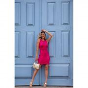 Vestido Curto Decote Vazado Vera Tricot Feminino Pink