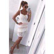 Vestido Curto Vera Tricot Alças Babado Feminino