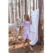 Vestido Feminino Vera Tricot Floral Cores Branco / Rosa