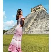 Vestido Lis Feminino Vera Tricot Longo Princesa Rosa / Branco