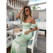 Vestido Lis Feminino Vera Tricot Longo Princesa Verde / Branco