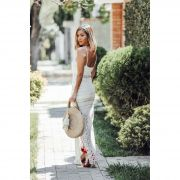 Vestido Longo Vera Tricot Decote V Listras Feminino Off / White