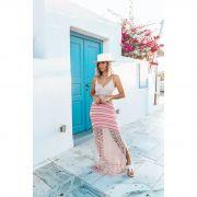 Vestido Longo Vera Tricot Decote V Listras Feminino Rosa / Pink