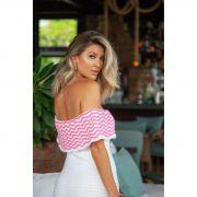 Vestido Longo Vera Tricot Ombro a Ombro Feminino Branco e Pink