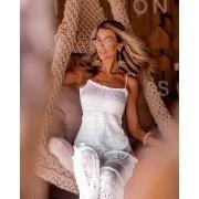 Vestido Louise Feminino Vera Tricot Longo Rendado Com Babados Branco