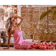 Vestido  Louise Feminino Vera Tricot Longo Rendado Com Babados Rosa
