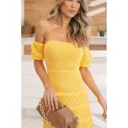 Vestido Midi Tricot Loren - Amarelo
