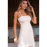 Vestido Rebeca Curto Alcinha Vera Tricot - Off White