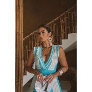 Tricô Vestido Vera Tricot Midi Listrado Feminino