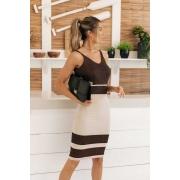 Vestido Tricot Modal Cleopatra - Areia / Preto com Lurex Cobre