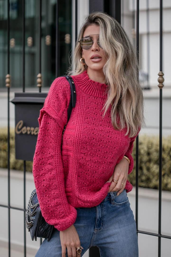Blusa Beatriz Vera Tricot Feminino Manga Longa Londres Rendado Pink