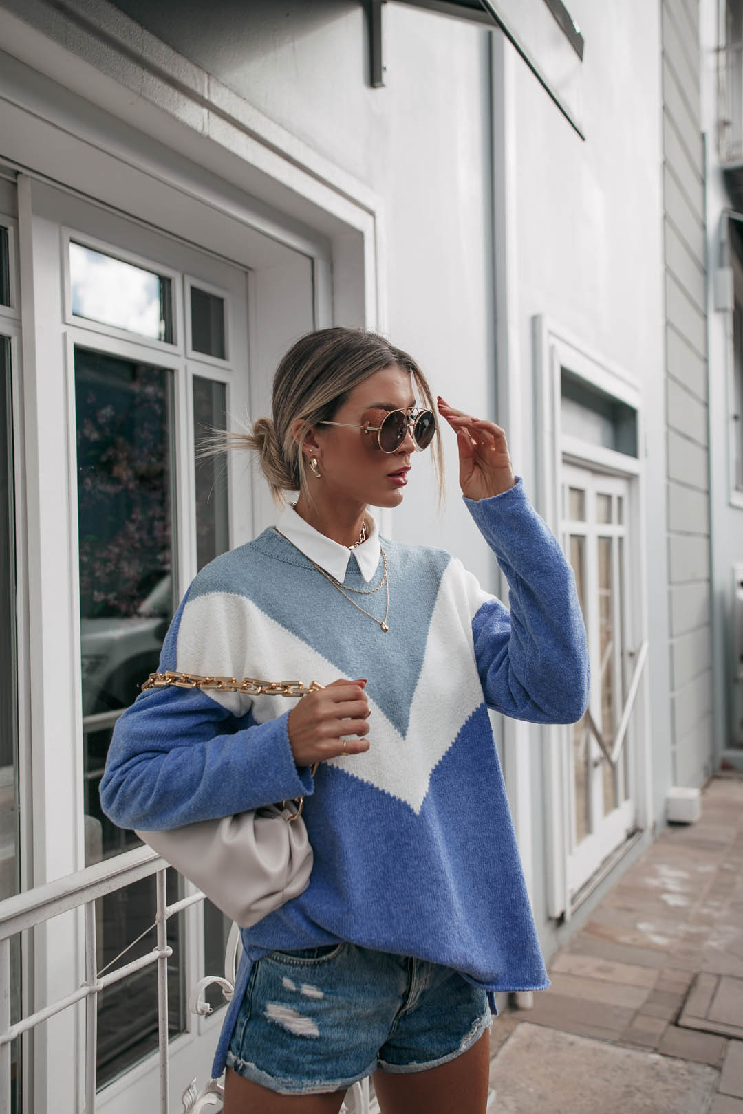 Blusa Bianca Vera Tricot Manga Longa Tricolor Azul / Branco / Azul Claro