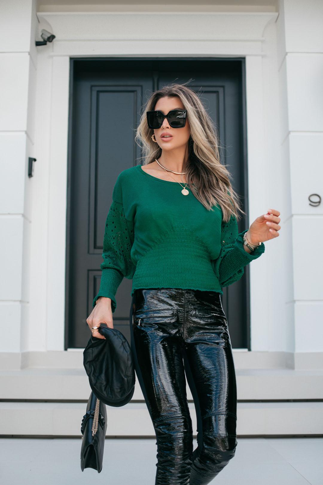 Blusa Camily Vera Tricot Manga Rendada Longa Verde Bardeira