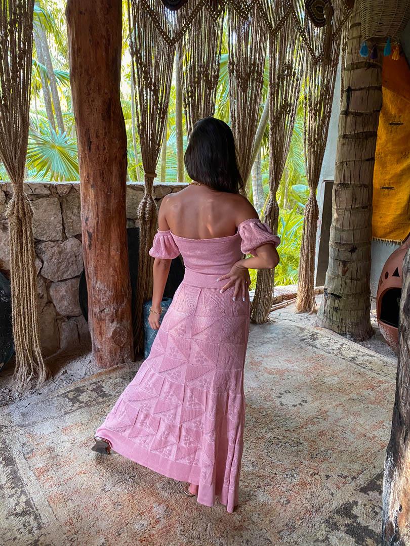 Blusa Cropped Alicia Vera Tricot Feminino Rosa