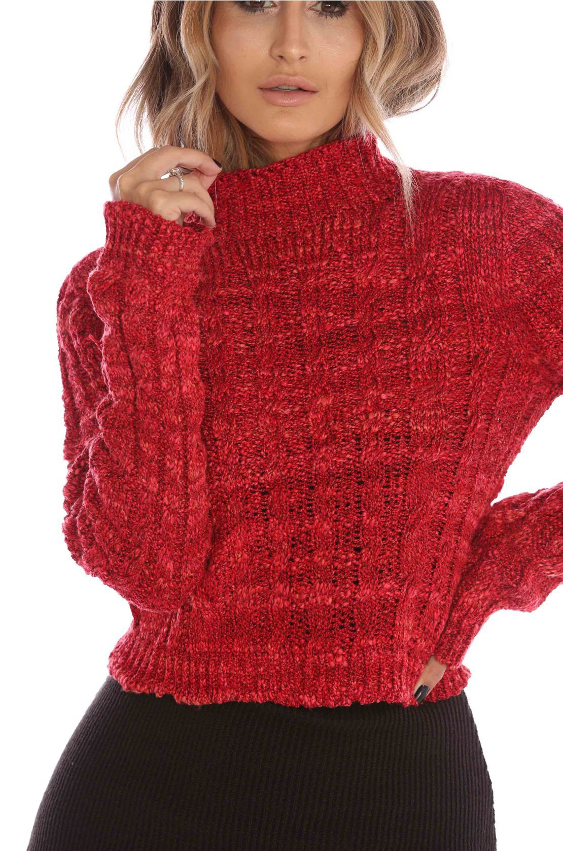 Blusa Cropped Vera Tricot Feminino Vermelho