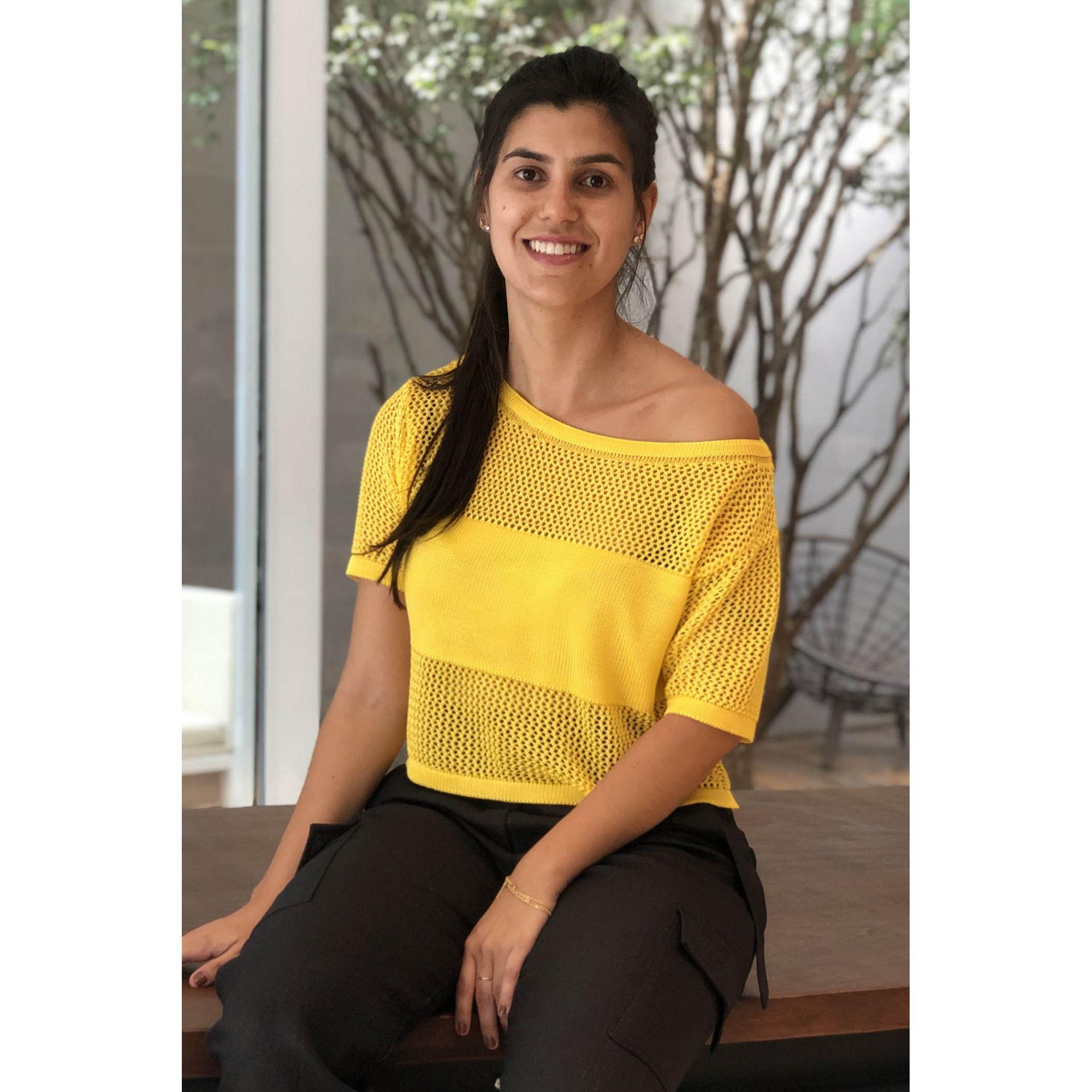 Blusa Cropped Vera Tricot Feminino Amarelo