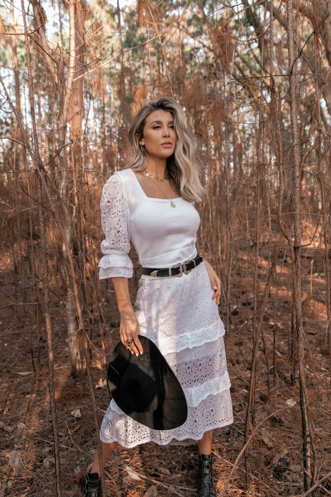 Blusa Cropped Nina  Vera Tricot Feminino Princesa Manga Rendada Branco