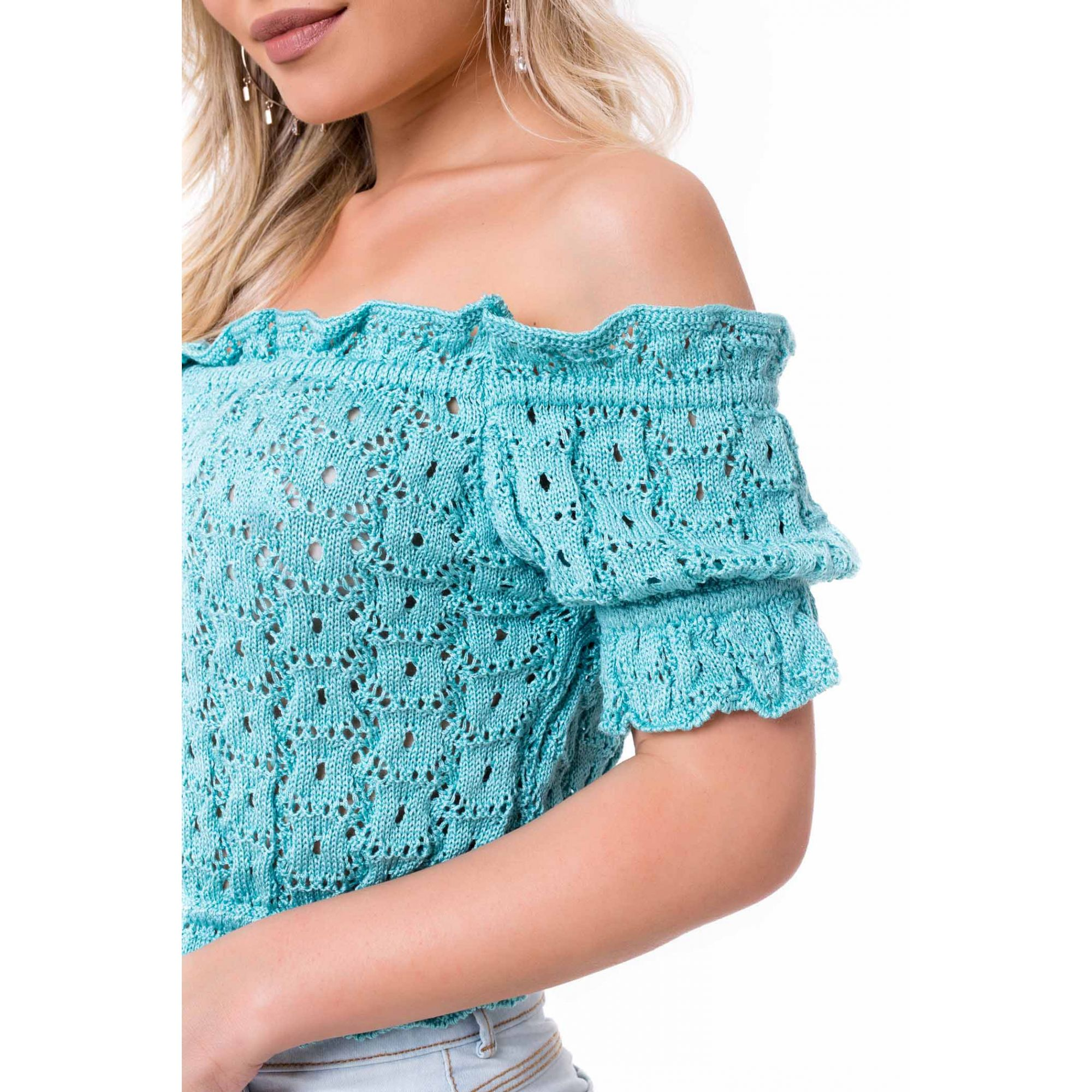 Blusa Cropped Vera Tricot Ombro a Ombro Franzidos Feminino Azul Claro