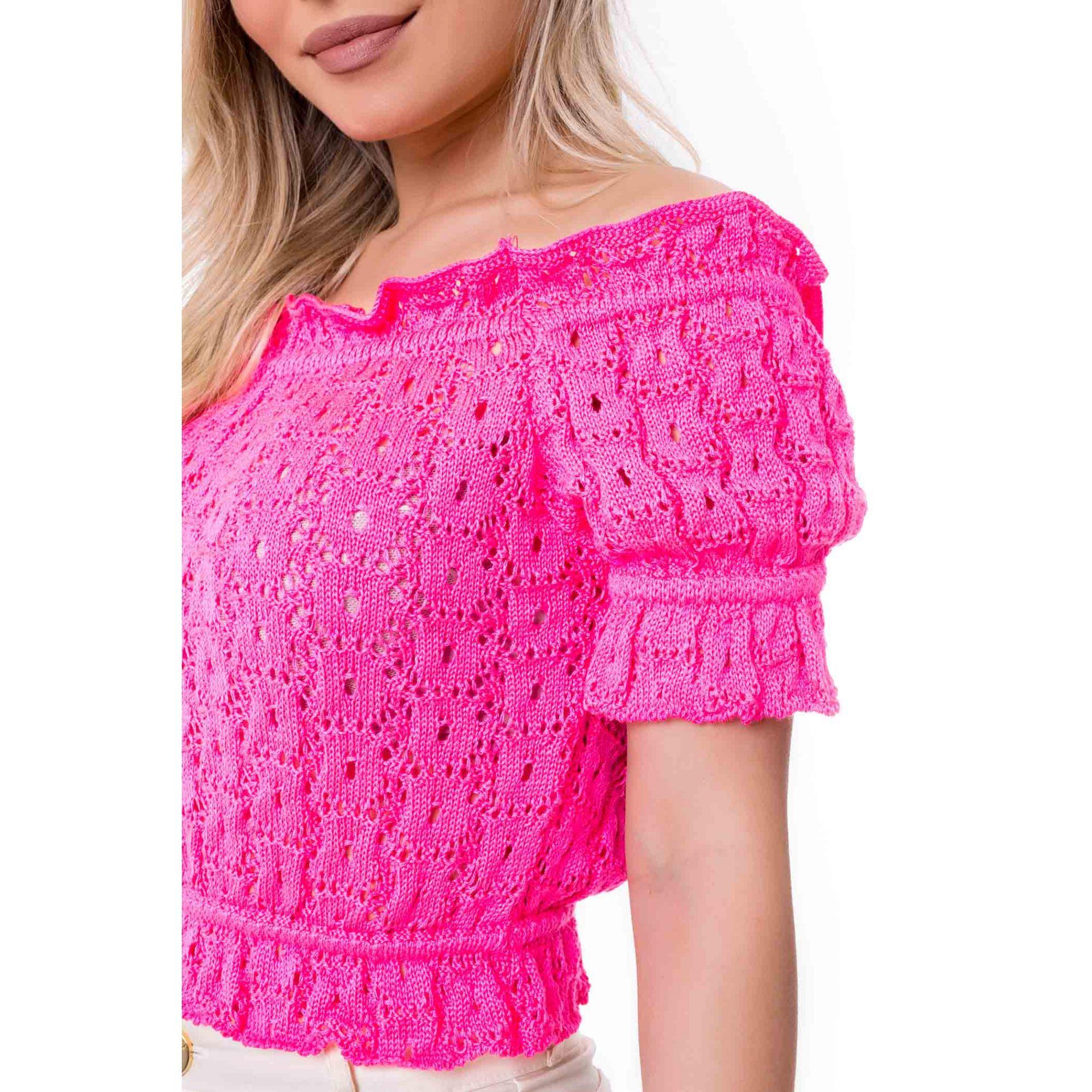Blusa Cropped Vera Tricot Ombro a Ombro Franzidos Feminino Pink