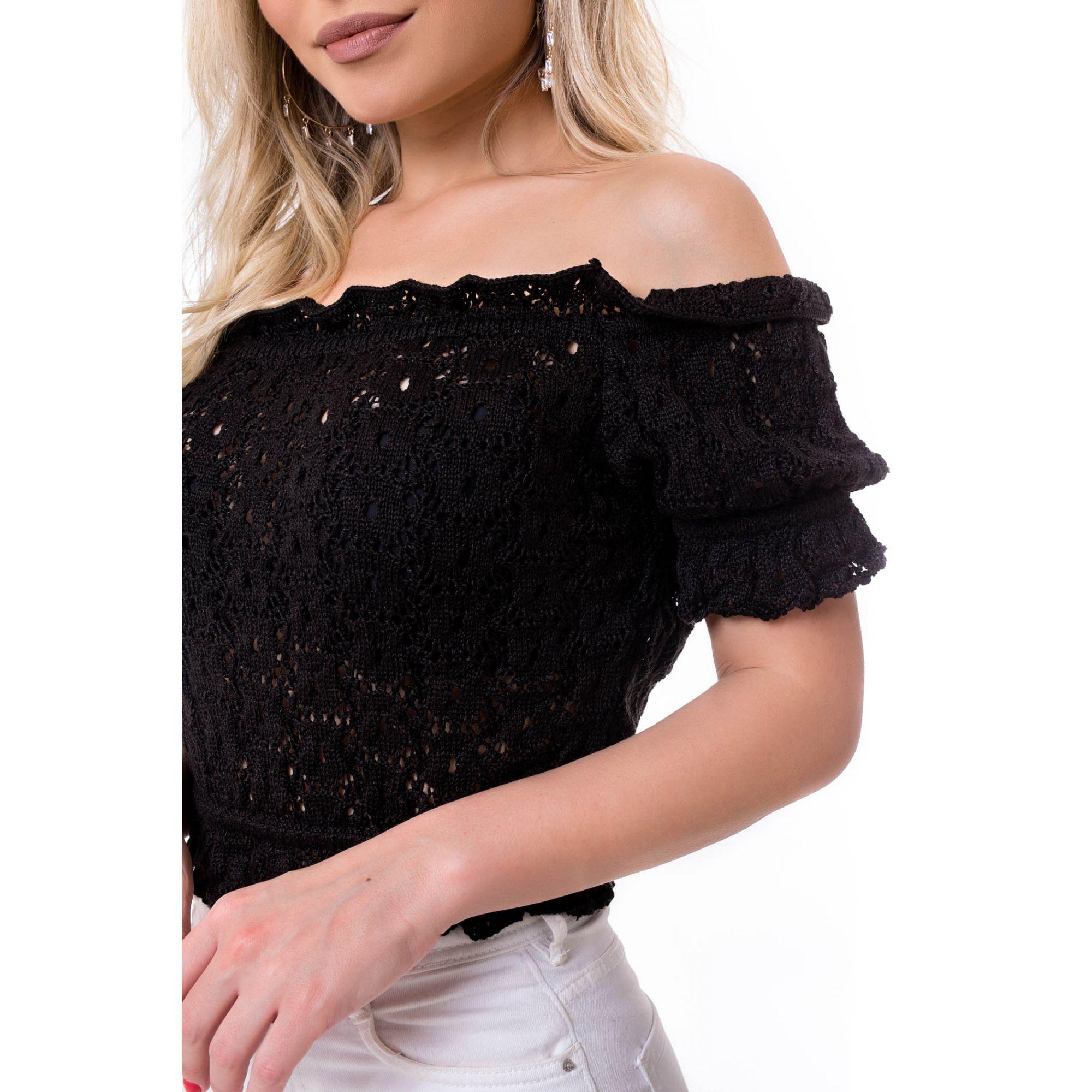 Blusa Cropped Vera Tricot Ombro a Ombro Franzidos Feminino Preto