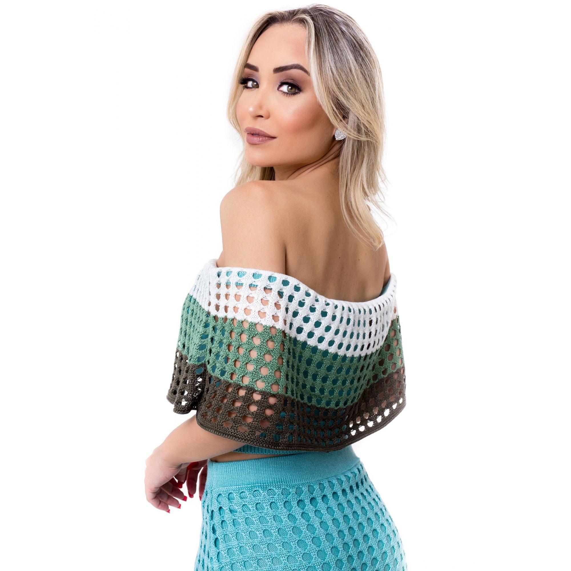 Blusa Cropped Vera Tricot Ombro a Ombro Listrado Verde / Branco