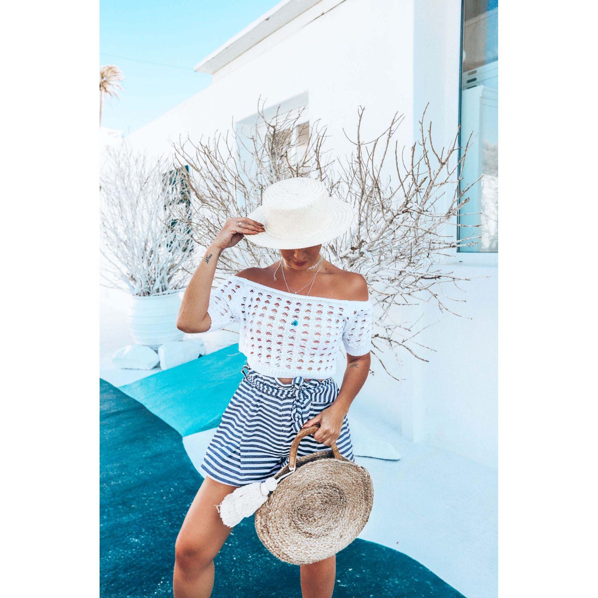 Blusa Cropped Vera Tricot Ombro a Ombro Manga Curta Feminino Branco