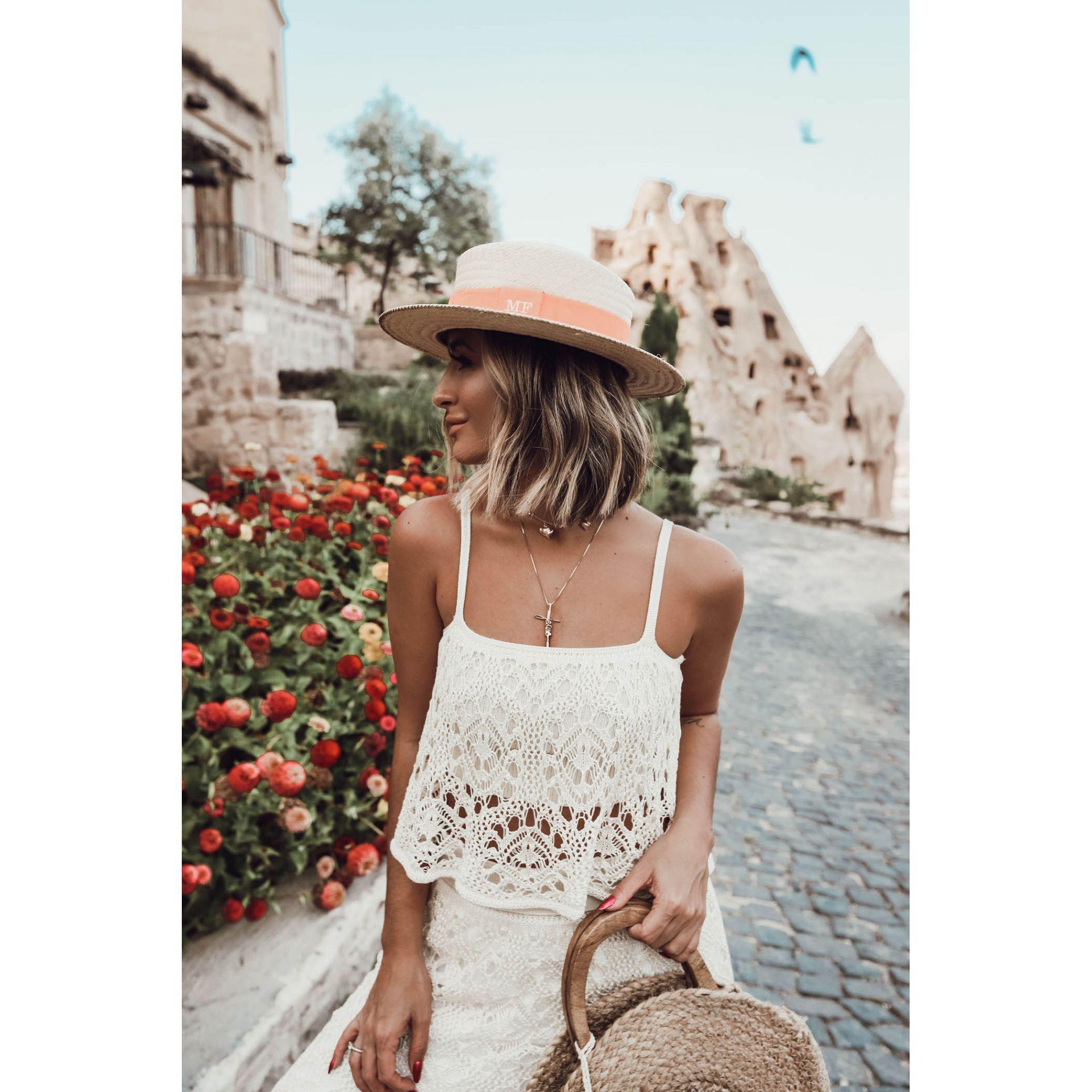 Blusa Cropped Alças Vera Tricot Rendado Feminino Areia