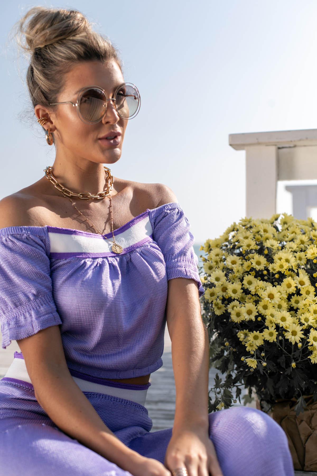 Blusa Cropped Hortência Vera Tricot Feminino Roxo / Lilas / Branco