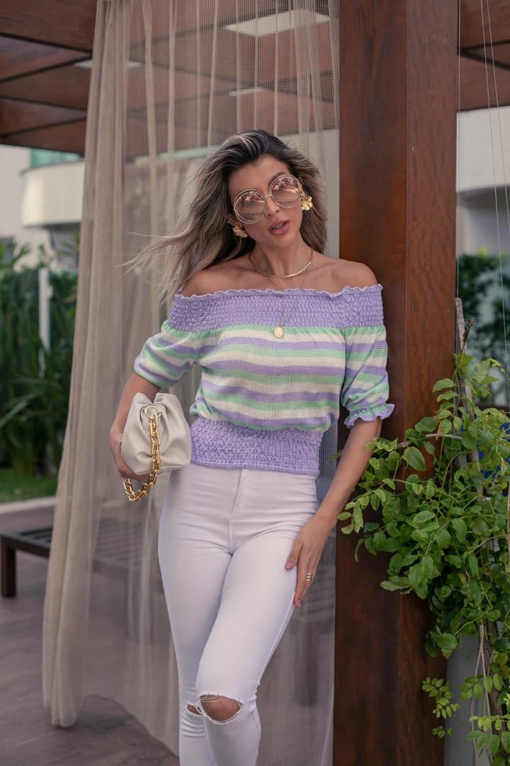 Blusa Girassol Vera Tricot Feminino Top Franzido Listrado Lilas / Branco / Verde
