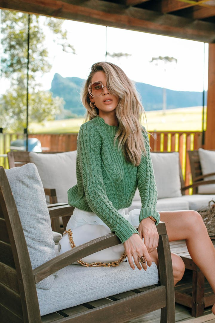 Blusa Izabella Vera Tricot Feminino Com Trança Ponto Arroz Verde