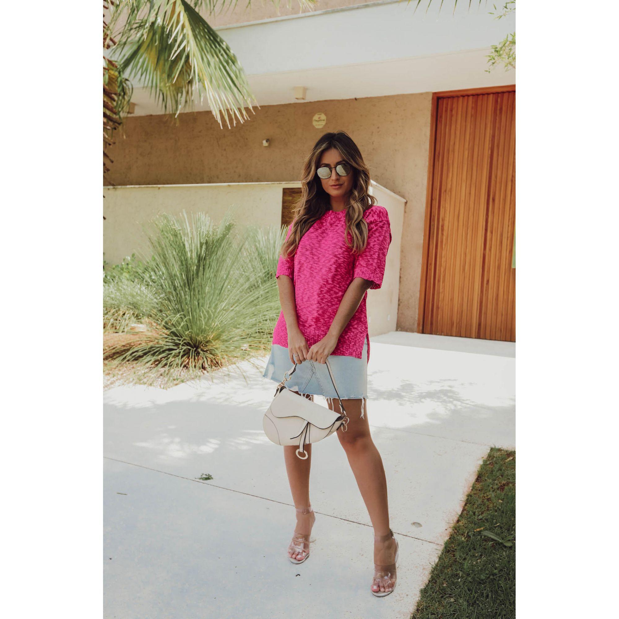 Blusa Manga Curta Vera Tricot Mullet Feminina Pink