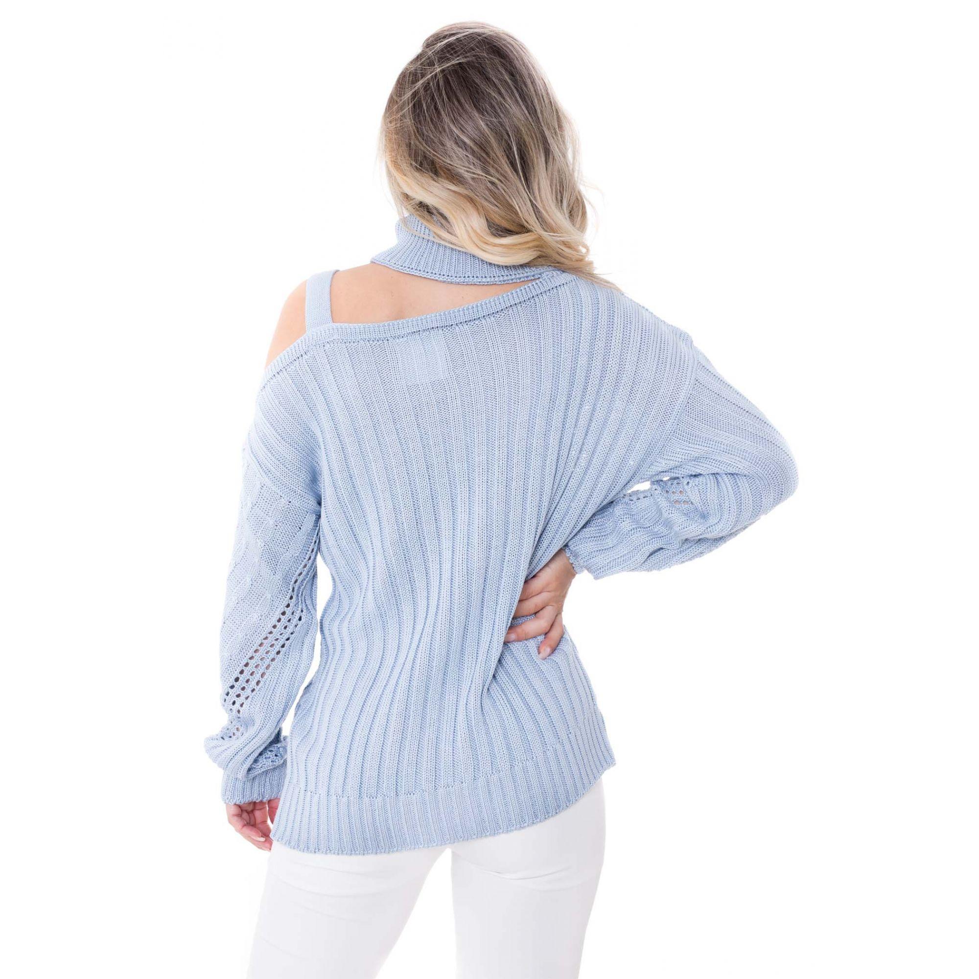 Blusa Manga Longa Gola Alta Vera Tricot Detalhe Ombro Feminina Azul Claro