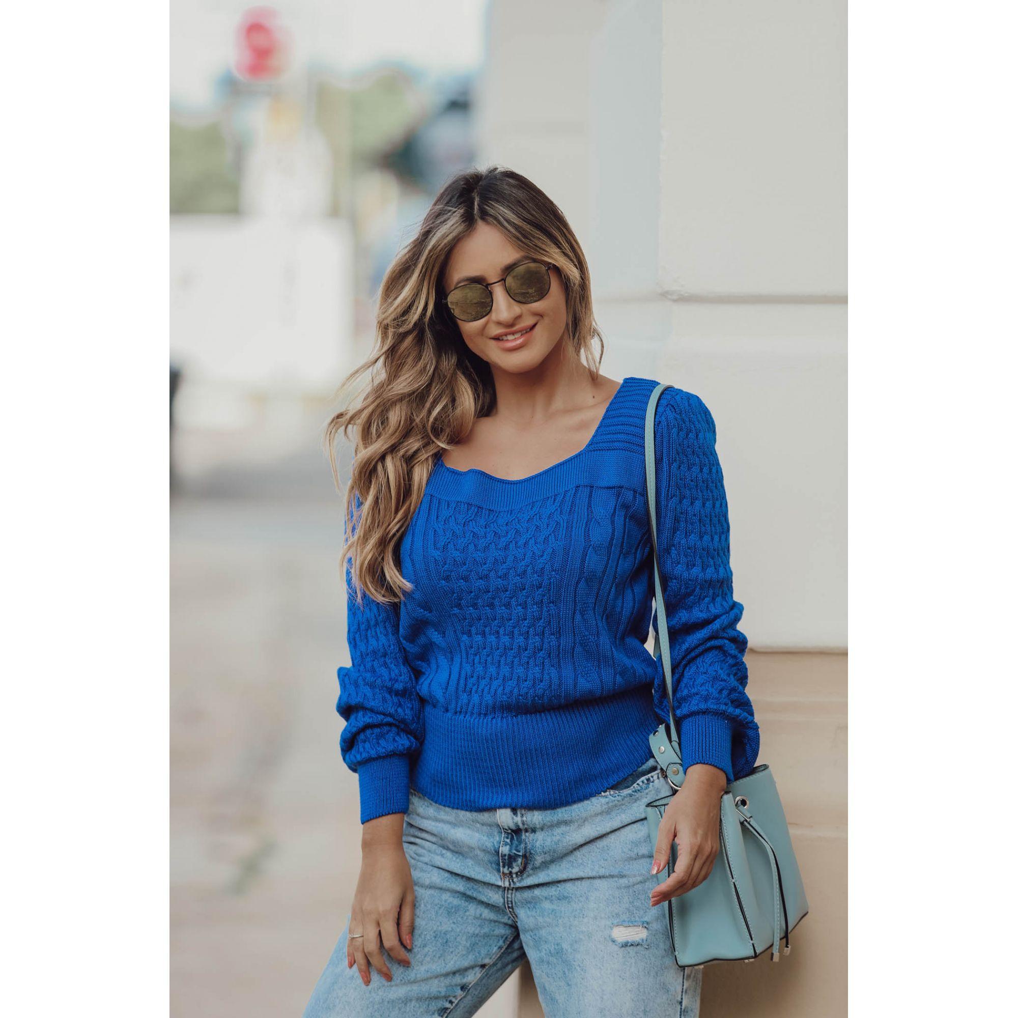 Blusa Tricot Trança Decote Quadrado Azul Royal