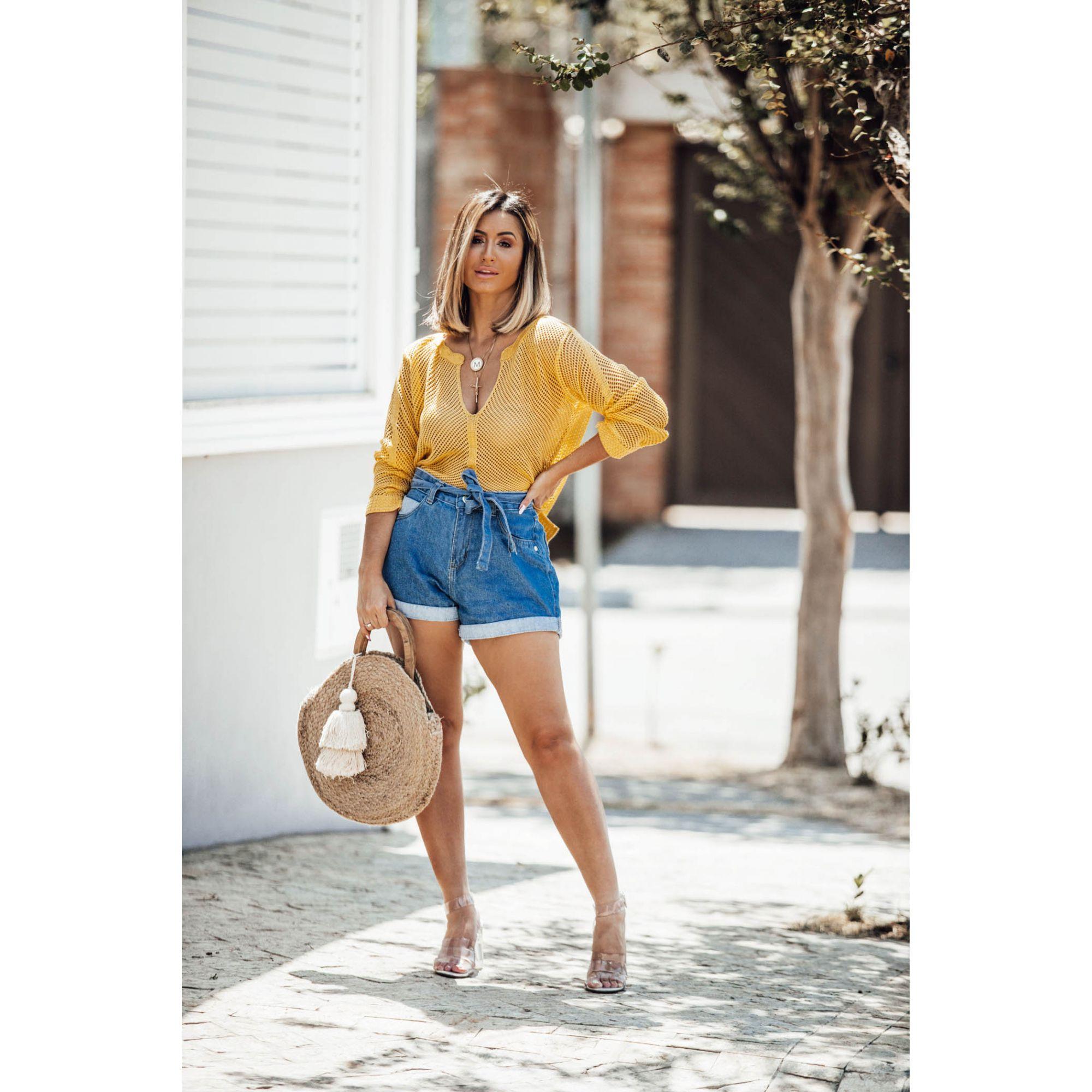 Blusa Mullet Vera Tricot Feminino Amarelo