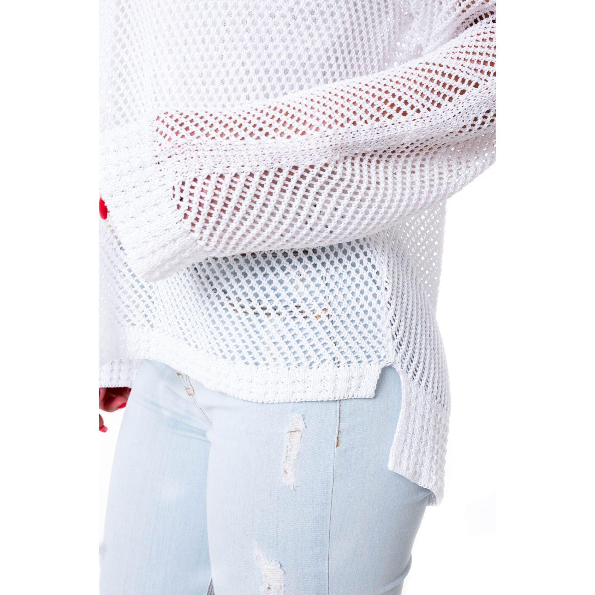 Blusa Mullet Vera Tricot Manga Longa Feminina Branca