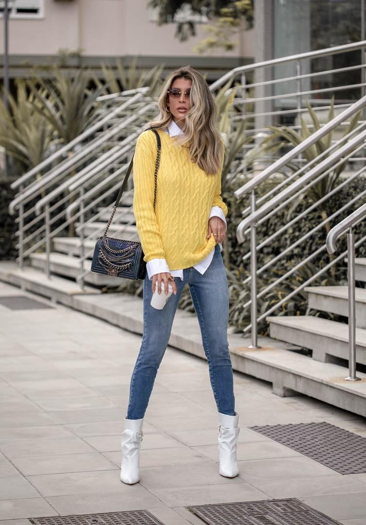 Blusa Olivia Feminina Vera Tricot Peça Pronta Trança Manga Canelada Amarelo