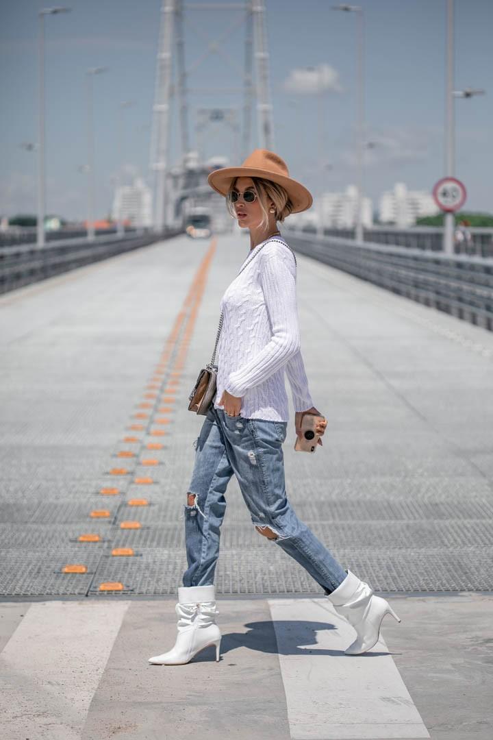 Blusa Olivia Feminina Vera Tricot Peça Pronta Trança Manga Canelada Branca