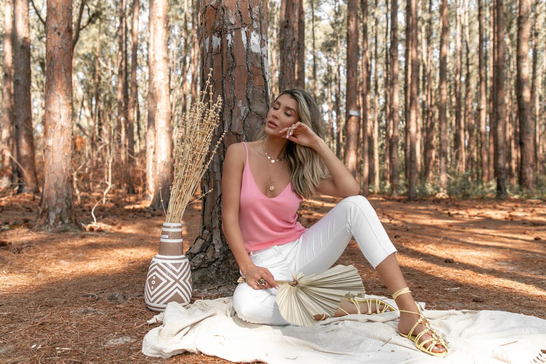 Blusa Dalia Regata Modal Decote V Vera Tricot Feminino Rosa Claro