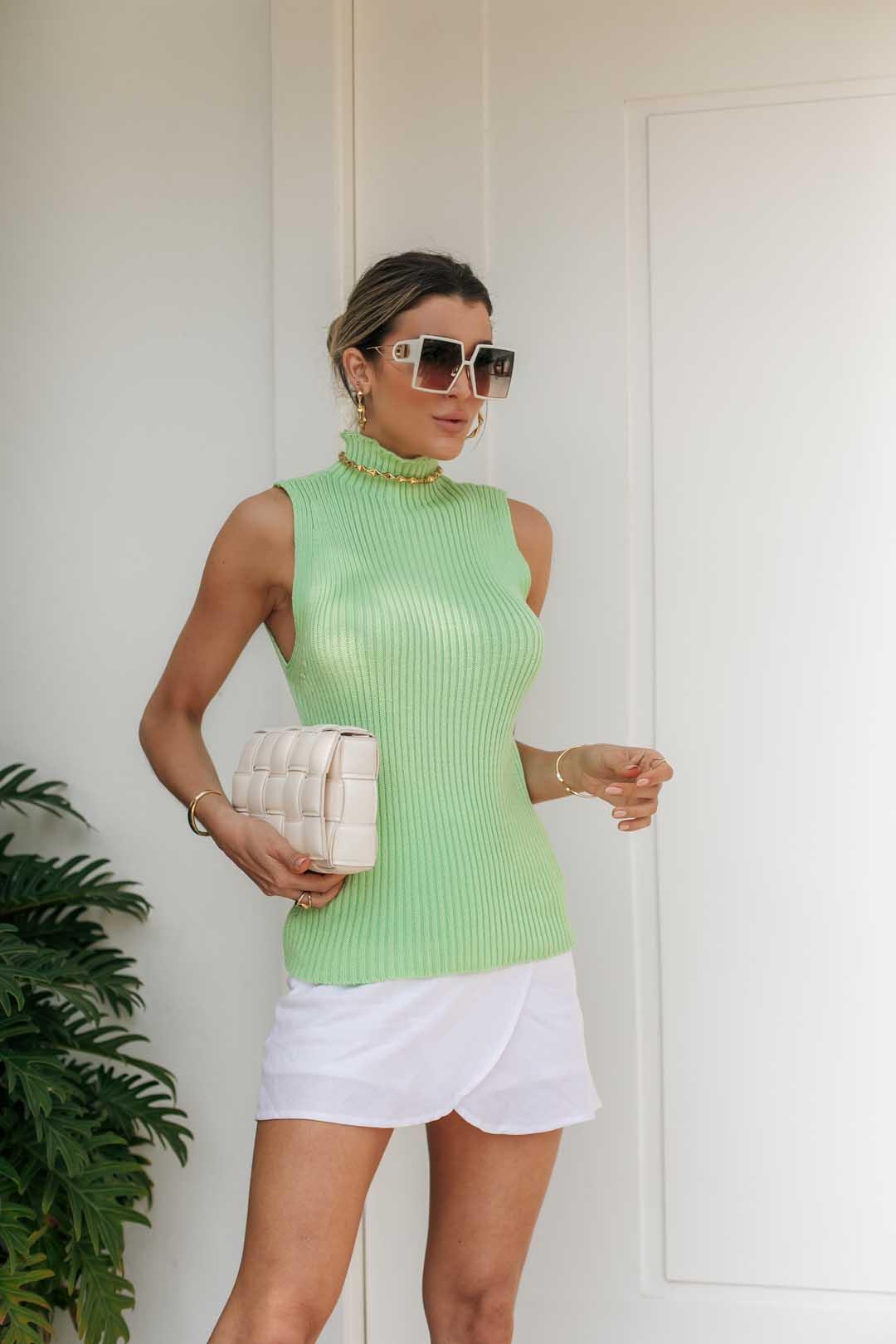 Blusa Regata Lolita Tricot - Verde Limão