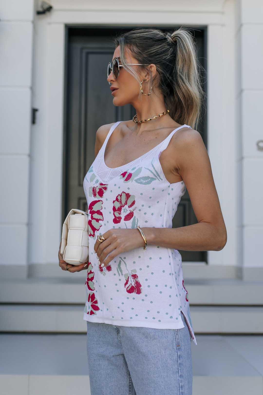 Blusa Regata Modal Tricot Gabi - Branco Estampado