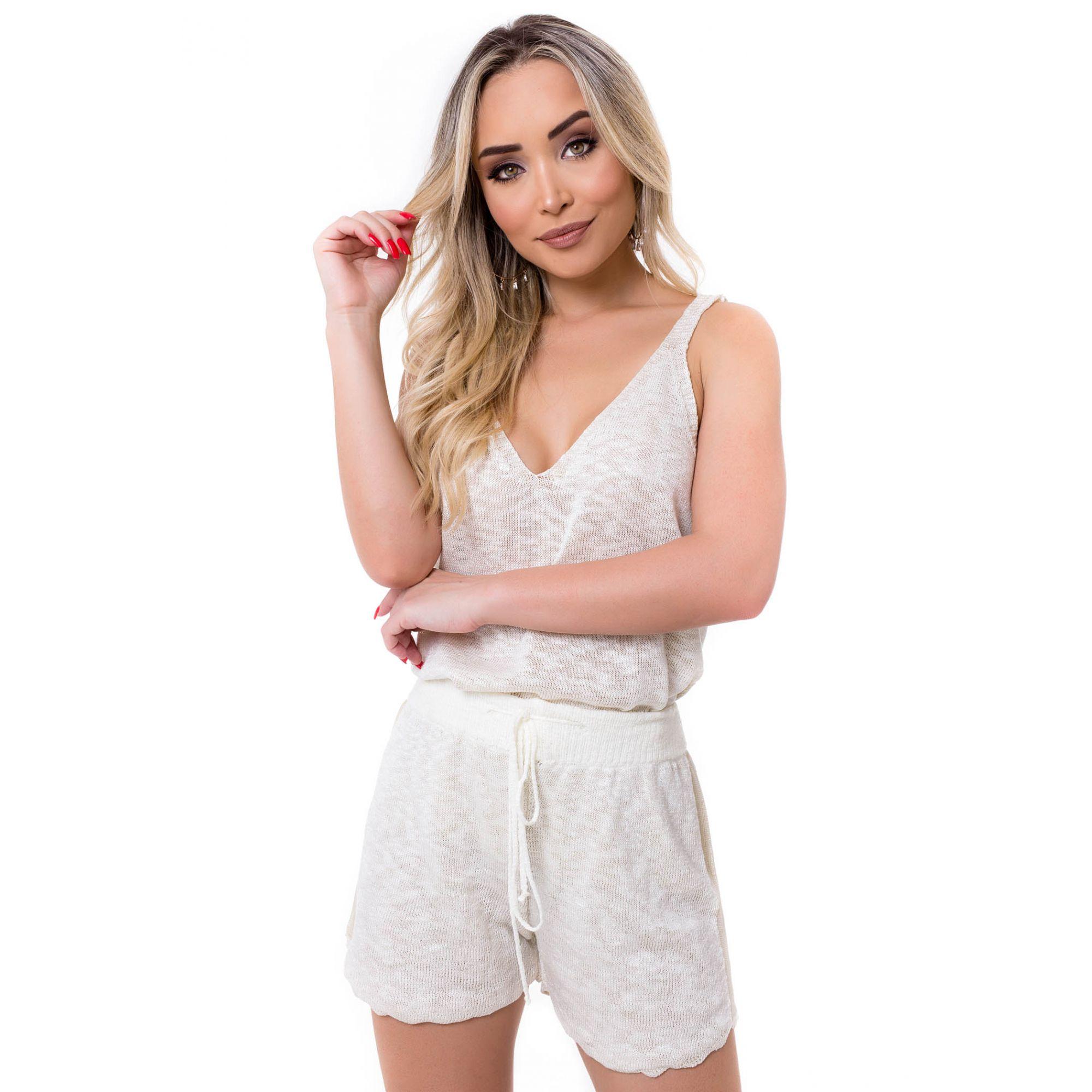 Blusa Regata Vera Tricot Decote V Feminino Off White