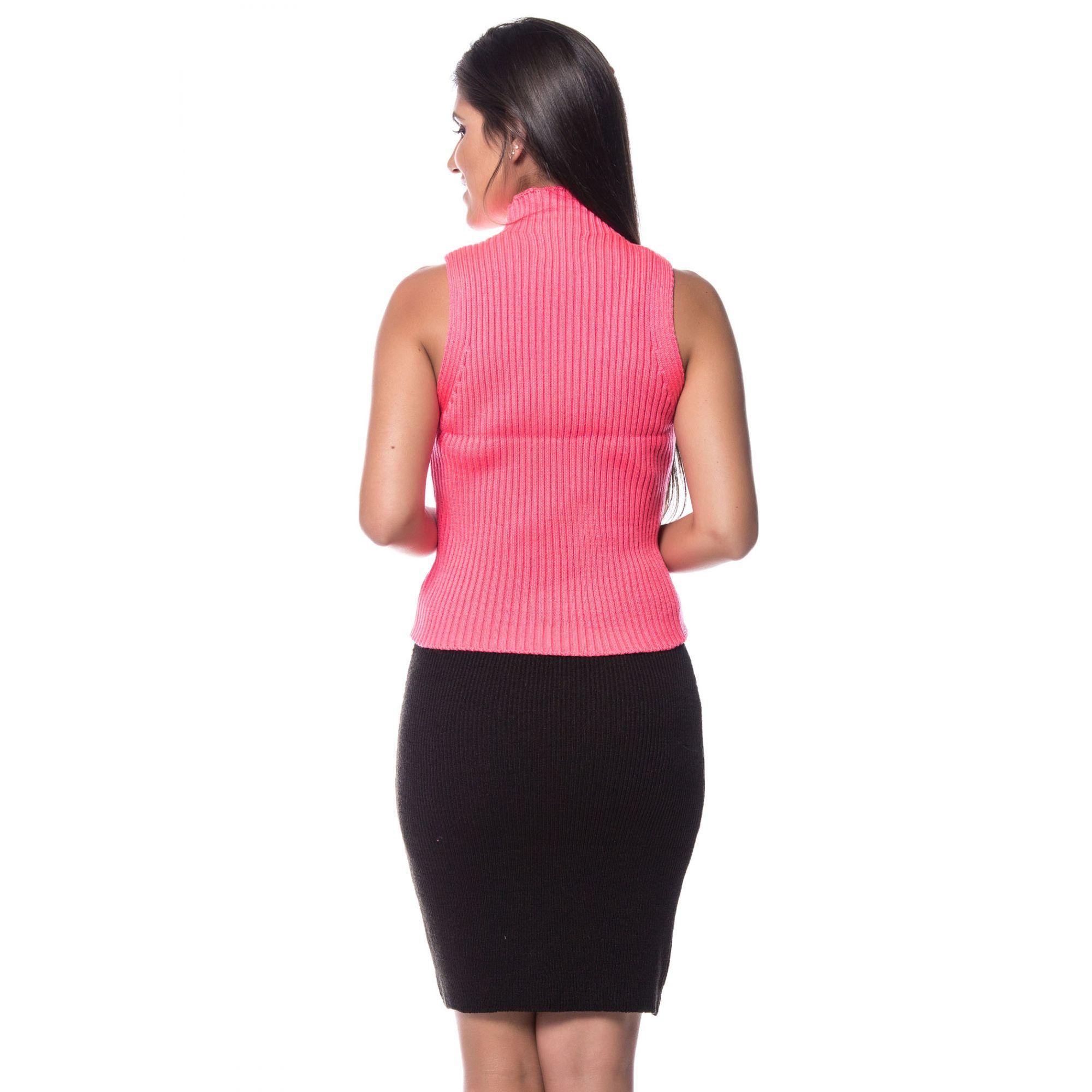 Blusa Regata Vera Tricot Gola Alta Feminino Pink