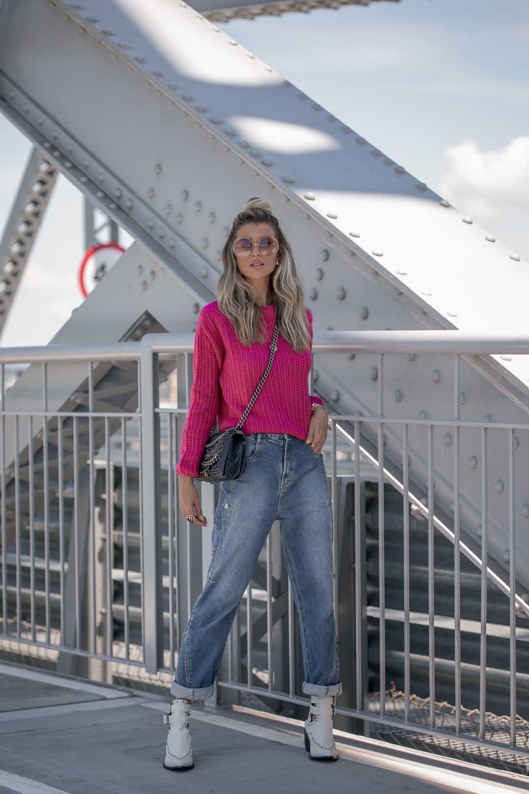 Blusa Stefany  Manga Longa Londres Tricot Feminino Pink