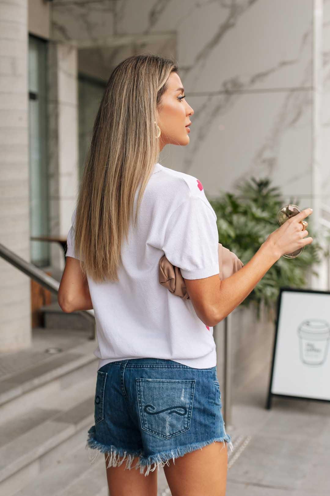 Blusa T-shirt  Lauana Coração Vera Tricot - Branco / Pink