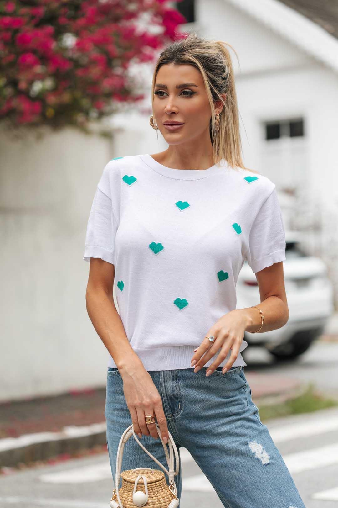 Blusa T-shirt  Lauana Coração Vera Tricot - Branco / Verde
